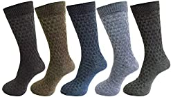 RC. ROYAL CLASS DOUBLE KNIT SELF DESIGN SOFT WOOLEN BLEND SOCKS FOR MEN IN ASSORTED COLORS PACK OF 5(WINTER WEAR WARM & THICK SOCKS)