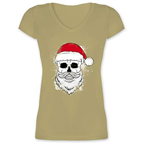 Weihnachten & Silvester - Totenkopf mit Weihnachtsmütze und Bart - XL - Olivgrün -...