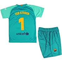 Set T-shirt e pantaloni portiere 1° Kit FC. Barcellona 2019-20 - Replica con licenza ufficiale - Dorsal 1 TER STEGEN - Bambino taglia 10