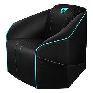 ThunderX3 US5HEXC – Sofá Gaming (7 Colores RGB, 3 Efectos, Cuero sintético Premium, Triple Costura, cojín de muelles, Marco de Madera Maciza) Color Negro y Cyan