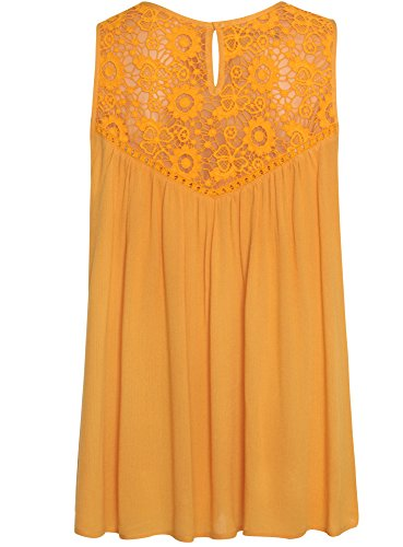 oodji Ultra Femme Top en Viscose avec Dentelle Orange (5500N)