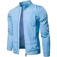 UJUNAOR Männer Casual Langarm Solide Stehkragen Wasserdichte Jacke Top Tasche Reißverschluss Mantel