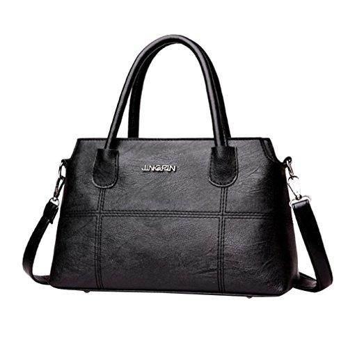Damen tasche sale, Frashing Mode Frauen Leder Splice Handtasche Schultertasche Crossbody Tasche Tote Bag Retro Nähte Muschel Leder Umhängetasche (Schwarz)
