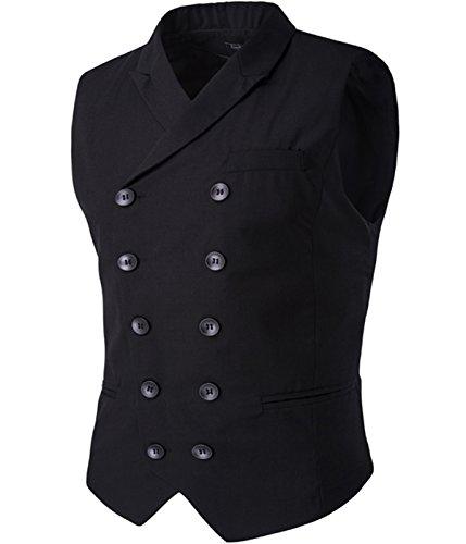 Gilet da uomo Premium Business Casual Slim Fit doppio petto Smart Gilet Black XL