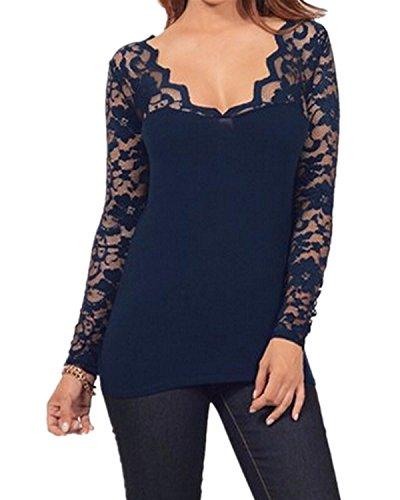 ZANZEA Donna Maliga Pizzo Manica Lunga Camicetta Casual Ufficio Elegante V-Collo Maglietta Sottile T-Shirt Blu marino