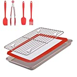 Non-Stick Baking Oven Trays and Pastry Utensils with Baking Pan & Silicone Baking Mat & Baking Rack & Silicone Basting Set (Brush & Spatula & Spoon & Kitchen Tong), 7 Packs Baking Accessories