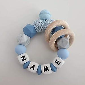 Beißring / Greifling aus Silikonperlen mit Holz in verschiedenen Blautönen Junge Name