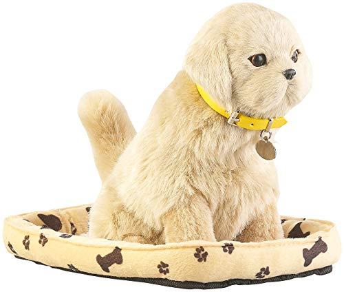 infactory Bellender Hund: Funktions-Plüschhund mit Hundekorb, Bewegungs- und Berührungssensor (Funktionshund)
