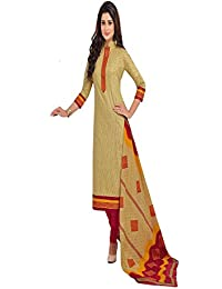 Baalar Elegance Women's Beige Color Pure Printed Cotton Unstitched Dress Material With Cotton Dupatta