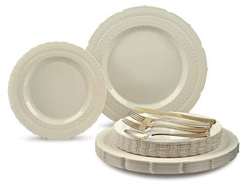 Occasions 720 Stück Set / 120 Gast - Extra-Schwergewichts-Weinlese-Hochzeitsfest-Einweg-Kunststoff-Teller und Besteck (Chateau Elfenbein, Gold-Silber) (Schwergewichts-kunststoff-teller)