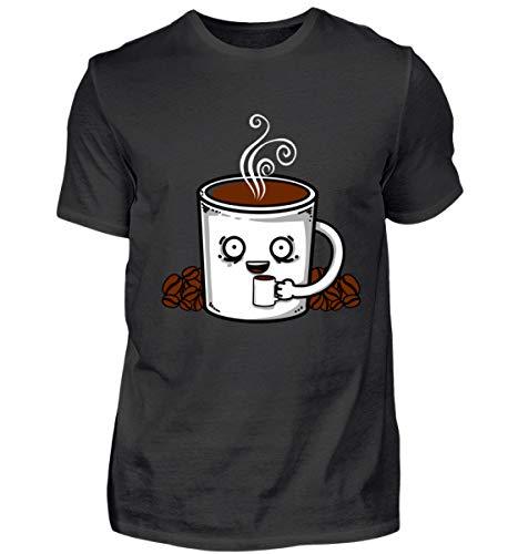 Kaffee Tasse Kaffeebohnen Coffee Kostüm Geschenk Geschenkidee - Herren Shirt -XXL-Schwarz (Koffein Süchtig Kostüm)
