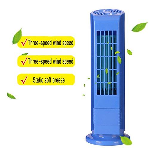 Preisvergleich Produktbild USB Mini Turm Fan / Dritten Gang Blattlosen Fan Kreative Mini Fan Kreative Aromatherapie Klimaanlage Turm Fan Tragbare Desktop USB Fan (Blau)