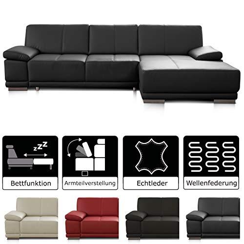 CAVADORE Schlafsofa Corianne mit Longchair rechts / Ledercouch in modernem Design / Inkl. beidseitiger Armteilverstellung / 282 x 80 x 162 / Echtleder schwarz