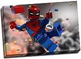 Lego Leinwand, Motiv Spiderman Superhero Leinwanddruck Poster 76,2 x 50,8 cm, Format A1