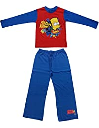 Red (5-6) 100% CottonBoys/Girls Bart Simpson Design Long Legged Pyjama 3-10 Years (5-6 Years)