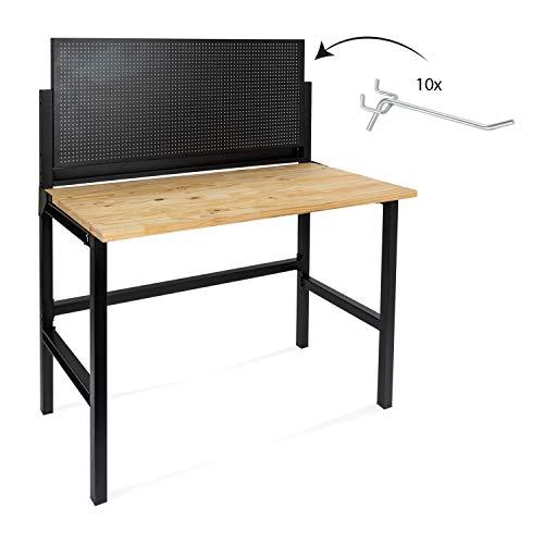 rikta Klappbare Werkbank | Klappbarer Werktisch | Freistehend | ca. 120,5 x 64,5 x 140,0 cm (BxTxH) | Belastbarkeit 150 kg | Holz-Arbeitsplatte
