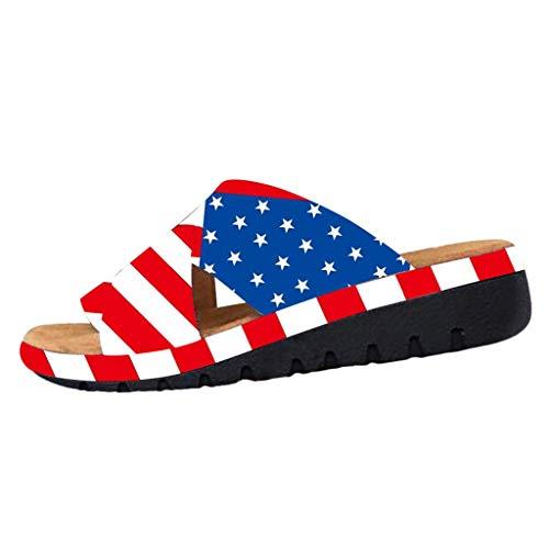 Cooljun Frauen Strand Sommer Casual Flip Flop Sandalen Frauen Amerikanische USA Flagge Patriotischen Schuhe Dicke Bottomed Sandal Schuhe Keilabsatz Sandalen Clip Toe Sommer Strand Schuhe