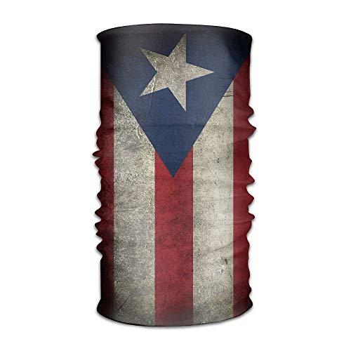 Rexing Men&Women Puerto Rican Flag Grunge Sports&Casual 12-in-1 Bandanna Headwear Scarf Wrap Neck Gaiters Headband Helmet Liner Balaclava for Running,Yoga,Hiking