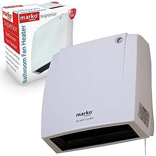 Marko 2000W Turbo Fan Downflow Bathroom Fan Heater Wall Mounted Pull Cord 2 Heat Level