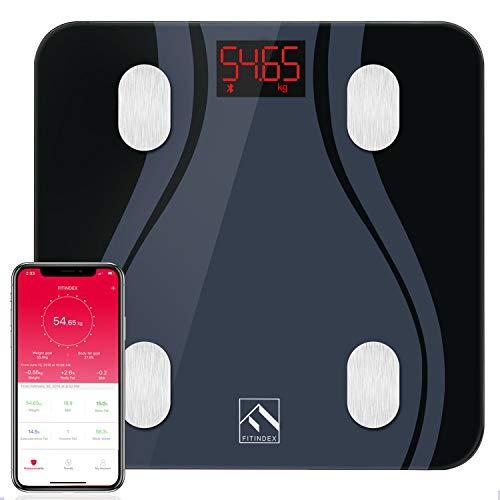 Pèse Personnes Impédancemètre Avec Application Haute Précision Améliorée Bluetooth Balance Pèse Personne Électronique Numériques Balance Connecté FITINDEX, Noir