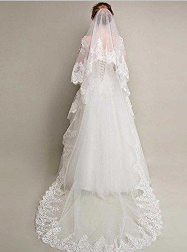 Mantilla para novia blanco flores