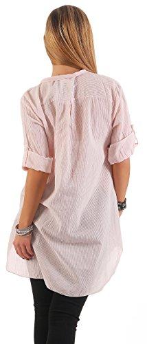 IKONA21 - Fashion Italy Damen Shirt Bluse Tunika Longshirt Onesize S M L XL 36 38 40 42 44 500 518 Rose Weiß gestreift