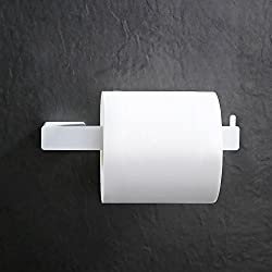 Homelody Porte-Papier Toilettes Mural Dérouleur Papier Hygénique Toilette Fixation Invisible WC Porte Rouleau Papier En Acier Inox SS304 Peint Blanc Laqué