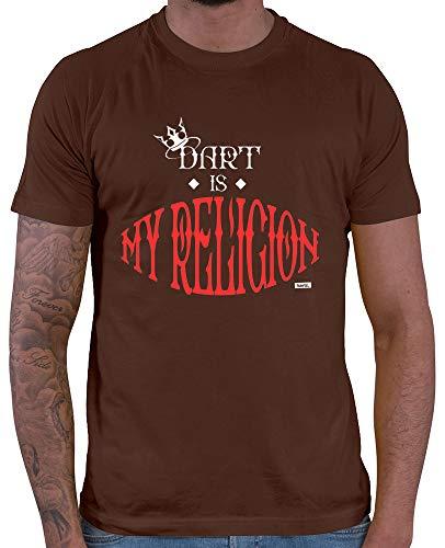 HARIZ  Herren T-Shirt Dart is My Religion Dart Darten Dartpfeile WM Inkl. Geschenk Karte Braun XL