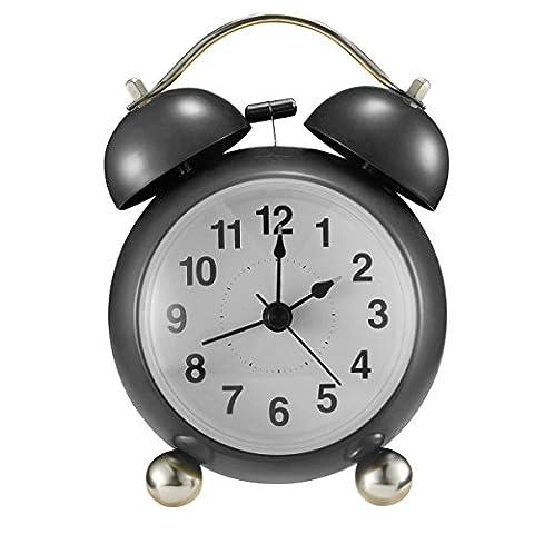 Glockenwecker,Drillpro 4'' Retro Doppelglockenwecker mit Nachtlicht Kinder Wecker,lauter Alarm, leise,