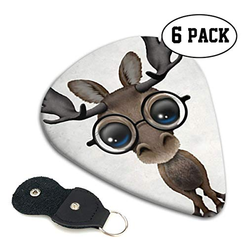 Cute Curious Baby Moose Nerd Wearing Glasses Celluloid Guitar Picks Premium Picks 6 Pack for Guitar,Mandolin,and Bass 0.46mm, 0.71mm, 0.96mm Optional with PU Leather Pick Holder(0.96mm)