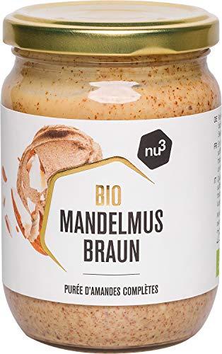 nu3 Bio Mandelmus braun – 250 ml im Glas – aus 100% knackigen Mandeln – beste Rohkost Qualität aus Spanien – perfekt zum Backen in Smoothies oder als zart-cremiger Brotaufstrich – Vegan & ohne Zusätze