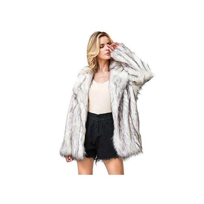 URSING Kapuzenpullover Damen Teddyfleecejacke Casual Wintermantel Revers Faux Wolle Warm Outwear Strickjacke Plüsch…