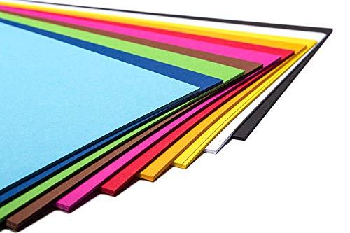 Perfect 50fogli di carta colorata art a4di carta, cartoncino, costruzione in formato a4(21x 29,7cm), in 10diversi solid-colours