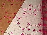 Astic Group - Foglia a pois rosa/ciliegia, 1 m x 80 cm, 2 m di nastro arricciatoio/etichetta regalo vuota 5 x 3 cm in cellophane trasparente per fioriere e cestini