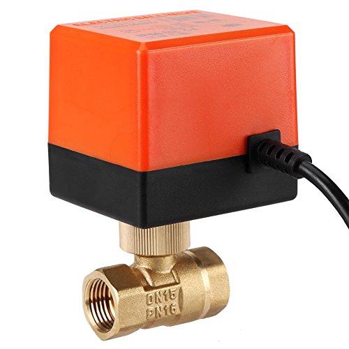 ntil, AC 220V 2 Wege 3 Draht 1,6Mpa Messinggewinde Motorisiertes Elektrisches Kugelventil Geeignet für Medium aus Wasser, Gas, Öl, DN15/ DN25(DN15) ()