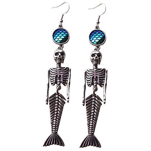 FINIVE Halloween-Kostüme, Vintage-Skelett Meerjungfrau baumeln Haken Ohrringe Frauen Halloween Party Schmuck, Silver