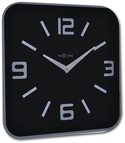 Nextime 8149ZW Quartz wall clock Plaza Negro - Reloj de pared (AA, Negro, Vidrio, 430 mm, 32 mm, 430 mm)