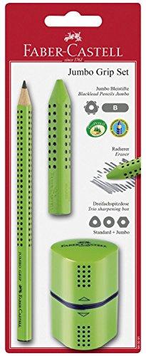 Faber-Castell 580091–Juego de 3 piezas, de lápiz, goma y sacapuntas, color verde claro