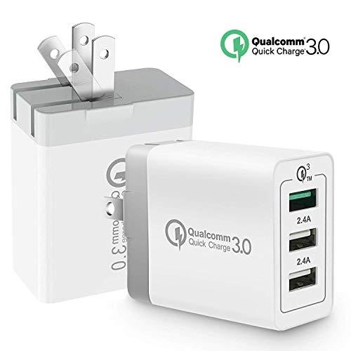 ZIHENGUO Caricabatteria da Muro Caricabatterie USB Quick Charge QC 3.0 Caricabatteria da Viaggio Portatile Adattatore di Corrente a Spina con Smart Device,USPlug,2pcs