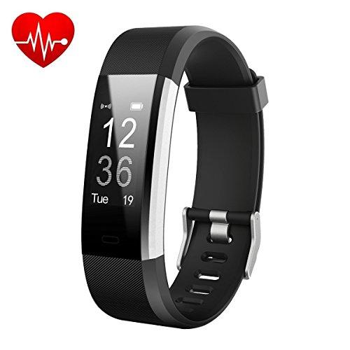 Fitness Tracker,HETP Fitness Armband mit Pulsmesser,Bluetooth Pulsmesser Armband, IP67 Wasserdicht smart Aktivitätstracker Schrittzähler Kalorienzähler Sport Uhr Fitness Uhr für iOS und Android Smartphone(Schwarz)