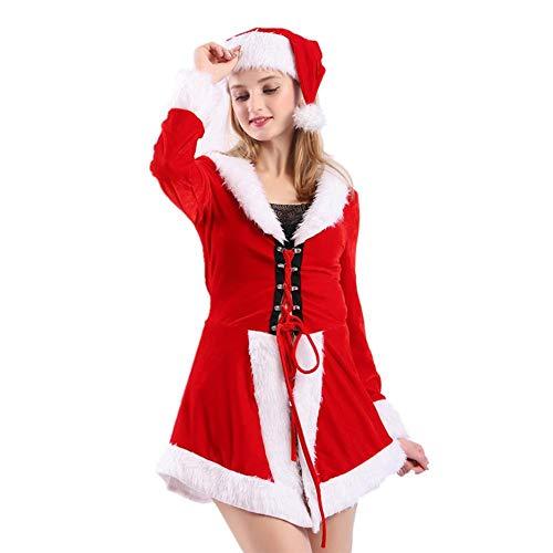 seasaleshop Damen Weihnachtsfrau Kostüm Weihnachtskostüm Cosplay Damen Kostüm Miss Santa für die Weihnachtsfeier oder ()