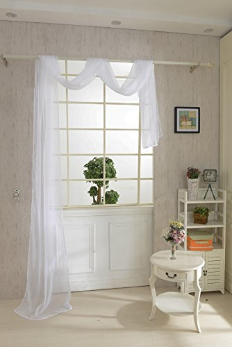 550 * 80cm sciarpa solida tenda di finestra pura voile drappo mantovana -white