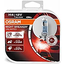 Osram ONBU4-DUO Night Breaker Unlimited Lámpara Halógena de Faros H4, 2 Unidades