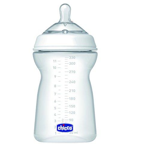 Chicco NaturalFeeling - Biberón con tetina redondeada anticólicos y flujo rápido para bebé de 6 meses en adelante, 330 ml