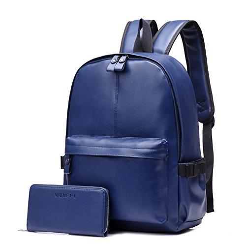 Otomoll Hochwertige Vintage Mode Lässig Pu Leder Frauen Männer Rucksack Taschen Rucksack Teenager Schulmappen Laptop Rucksack Mit Der Brieftasche