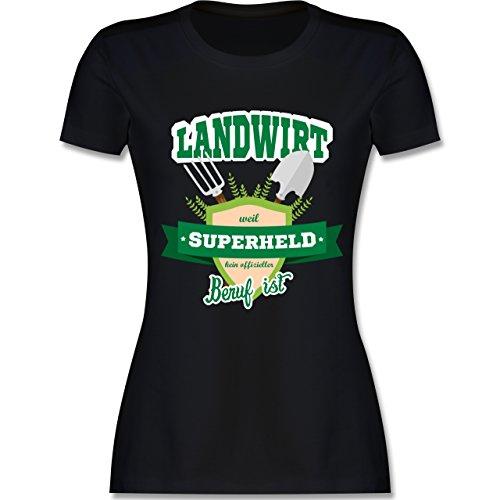 Landwirt - Landwirt - weil Superheld kein offizieller Beruf ist - tailliertes Premium T-Shirt mit Rundhalsausschnitt für Damen Schwarz