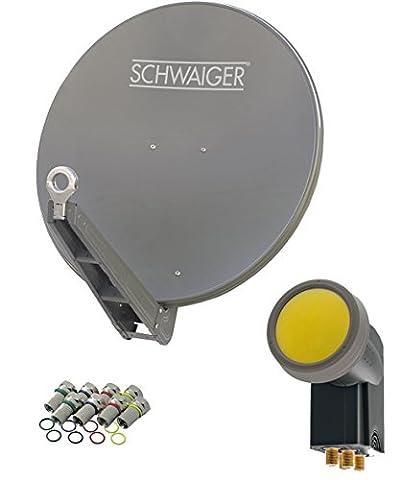 SCHWAIGER -4630- Sat Anlage, Satellitenschüssel mit Quad LNB (digital) & 8 F-Steckern 7 mm, Sat Antenne aus Aluminium, Anthrazit, 75 x 90,5 cm