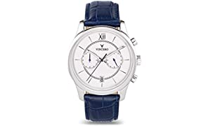Vinceo Luxury Men's Bellwether Wrist Watch - White dial with Blue Leather Watch Band - 43mm Chronograph Watch - Japanese Quartz Movement
