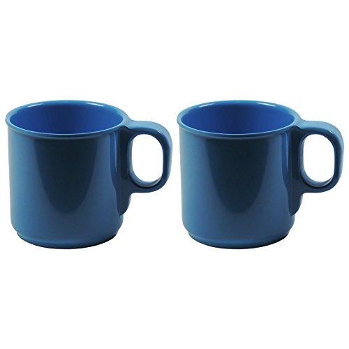 Viva-Haushaltswaren Becher 2er Set 250 ml Blau Kaffeebecher aus Melamin