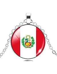 1825abb7349a Jiayiqi Bandera Nacional Patrón Cristal Tiempo Piedra Preciosa Colgante  Collar